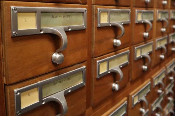 Closed Drawers of a Card Catalog