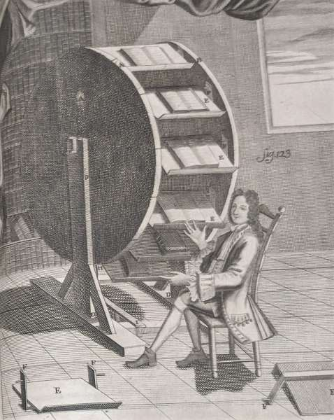 A Man Sitting at a Bookwheel