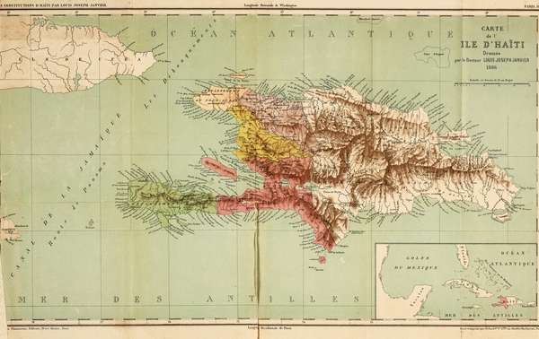 Colored Map of the Island of Haiti - 1886