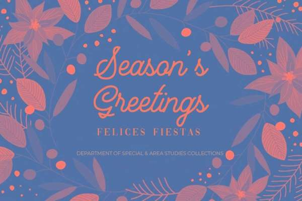A Holiday Greeting Card with Orange and Blue Leaves and Flowers