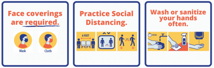Face covering – Required within all UF buildings Social distance – Keep 6 feet between people inside or outdoors   Hand and surface hygiene – Wash hands and disinfect surfaces often   If sick, stay home – Seek medical assistance if experiencing COVID-19 symptoms