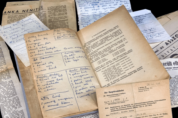 Clippings and notes inside a twentieth-century Israeli Cookbook