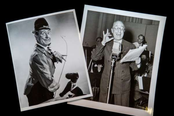 Photos of Ed Wynn In Costume and Reading on Radio