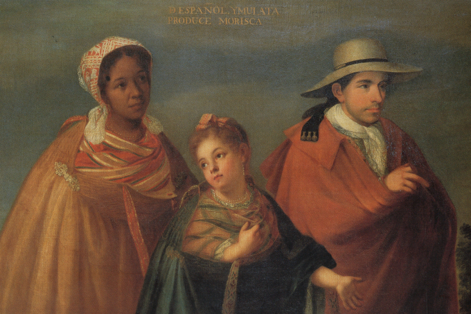 Casta Painting from Spain, c. 1715, showing a Spanish man, a Black woman, and their child